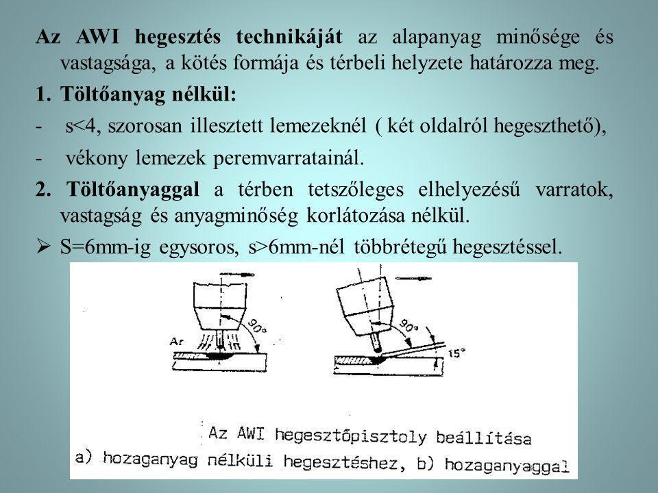 Az AWI hegesztés technikáját az alapanyag minősége és vastagsága, a kötés formája és térbeli helyzete határozza meg. 1.Töltőanyag nélkül: - s<4, szoro