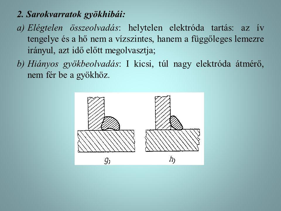 2. Sarokvarratok gyökhibái: a)Elégtelen összeolvadás: helytelen elektróda tartás: az ív tengelye és a hő nem a vízszintes, hanem a függőleges lemezre