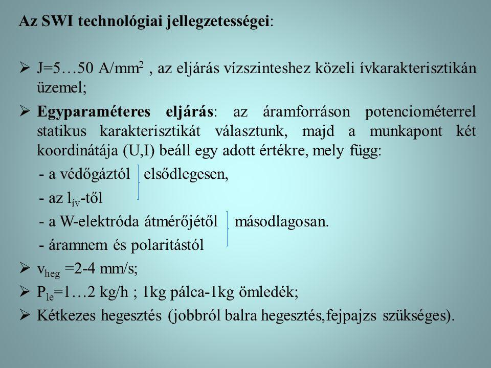 Az SWI technológiai jellegzetességei:  J=5…50 A/mm 2, az eljárás vízszinteshez közeli ívkarakterisztikán üzemel;  Egyparaméteres eljárás: az áramfor
