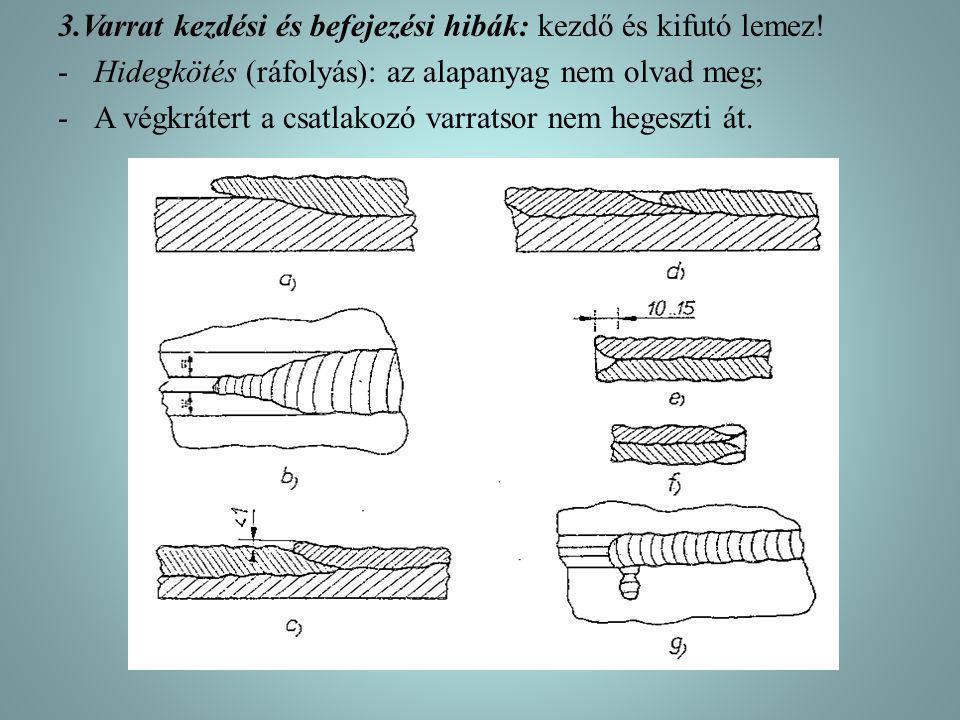 3.Varrat kezdési és befejezési hibák: kezdő és kifutó lemez! -Hidegkötés (ráfolyás): az alapanyag nem olvad meg; -A végkrátert a csatlakozó varratsor