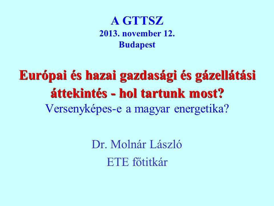 Európai és hazai gazdasági és gázellátási áttekintés - hol tartunk most? A GTTSZ 2013. november 12. Budapest Európai és hazai gazdasági és gázellátási