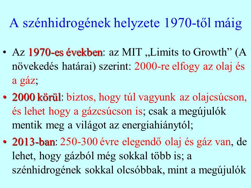 """A szénhidrogének helyzete 1970-től máig 1970-es évekbenAz 1970-es években: az MIT """"Limits to Growth (A növekedés határai) szerint: 2000-re elfogy az olaj és a gáz; 2000 körül2000 körül: biztos, hogy túl vagyunk az olajcsúcson, és lehet hogy a gázcsúcson is; csak a megújulók mentik meg a világot az energiahiánytól; 2013-ban2013-ban: 250-300 évre elegendő olaj és gáz van, de lehet, hogy gázból még sokkal több is; a szénhidrogének sokkal olcsóbbak, mint a megújulók"""