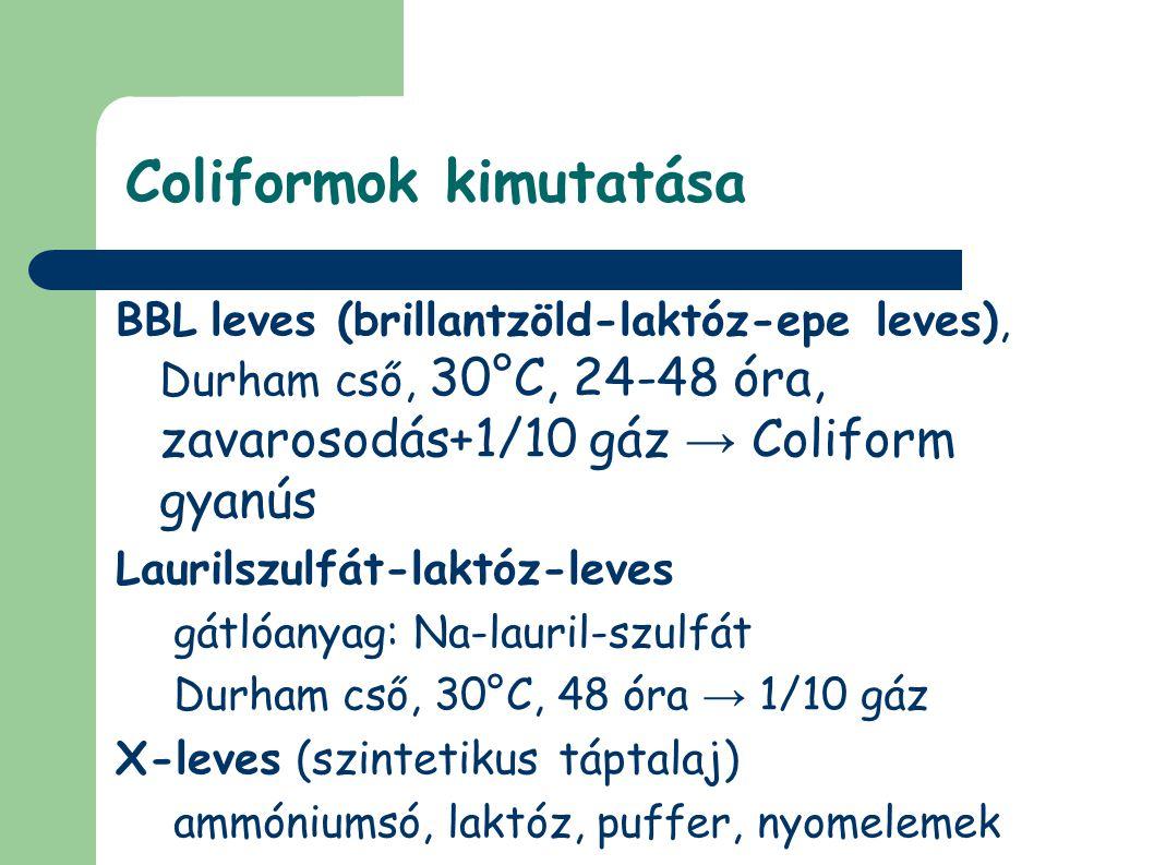 Coliformok kimutatása BBL leves (brillantzöld-laktóz-epe leves), Durham cső, 30°C, 24-48 óra, zavarosodás+1/10 gáz → Coliform gyanús Laurilszulfát-laktóz-leves gátlóanyag: Na-lauril-szulfát Durham cső, 30°C, 48 óra → 1/10 gáz X-leves (szintetikus táptalaj) ammóniumsó, laktóz, puffer, nyomelemek