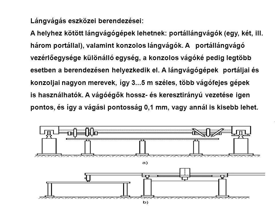 Lángvágás eszközei berendezései: A helyhez kötött lángvágógépek lehetnek: portállángvágók (egy, két, ill. három portállal), valamint konzolos lángvágó