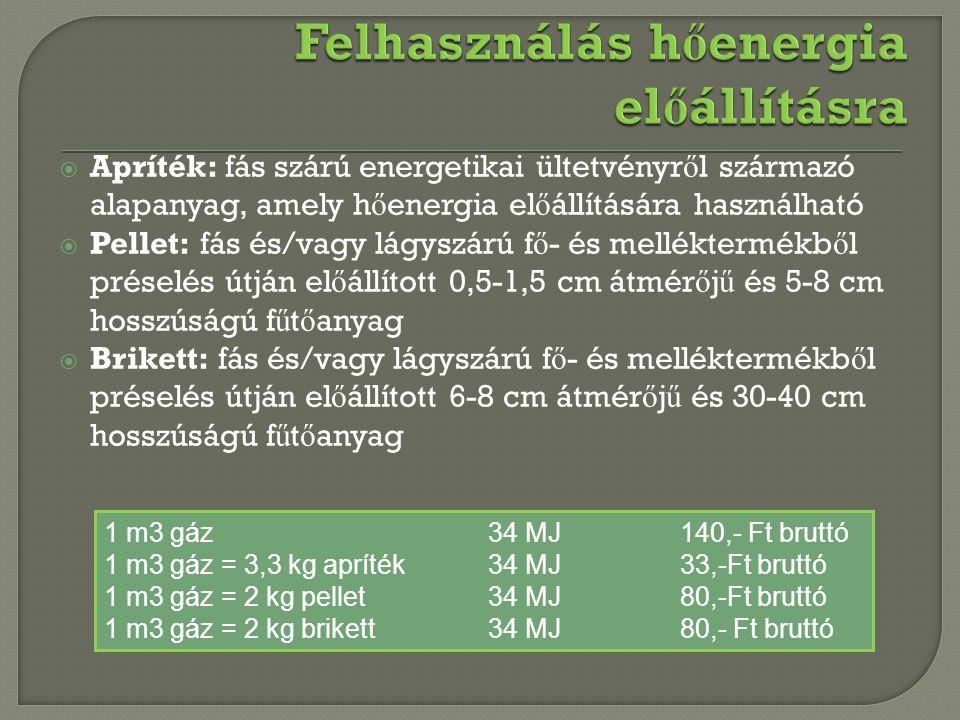  Apríték: fás szárú energetikai ültetvényr ő l származó alapanyag, amely h ő energia el ő állítására használható  Pellet: fás és/vagy lágyszárú f ő