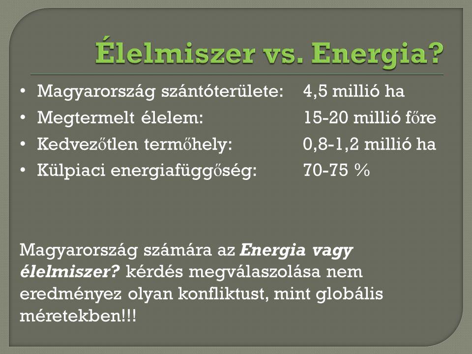 Magyarország szántóterülete: 4,5 millió ha Megtermelt élelem:15-20 millió f ő re Kedvez ő tlen term ő hely:0,8-1,2 millió ha Külpiaci energiafügg ő sé