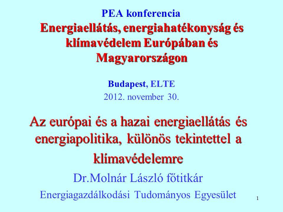 1 Energiaellátás, energiahatékonyság és klímavédelem Európában és Magyarországon PEA konferencia Energiaellátás, energiahatékonyság és klímavédelem Eu