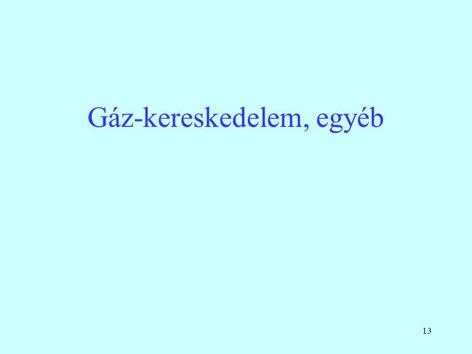 13 Gáz-kereskedelem, egyéb