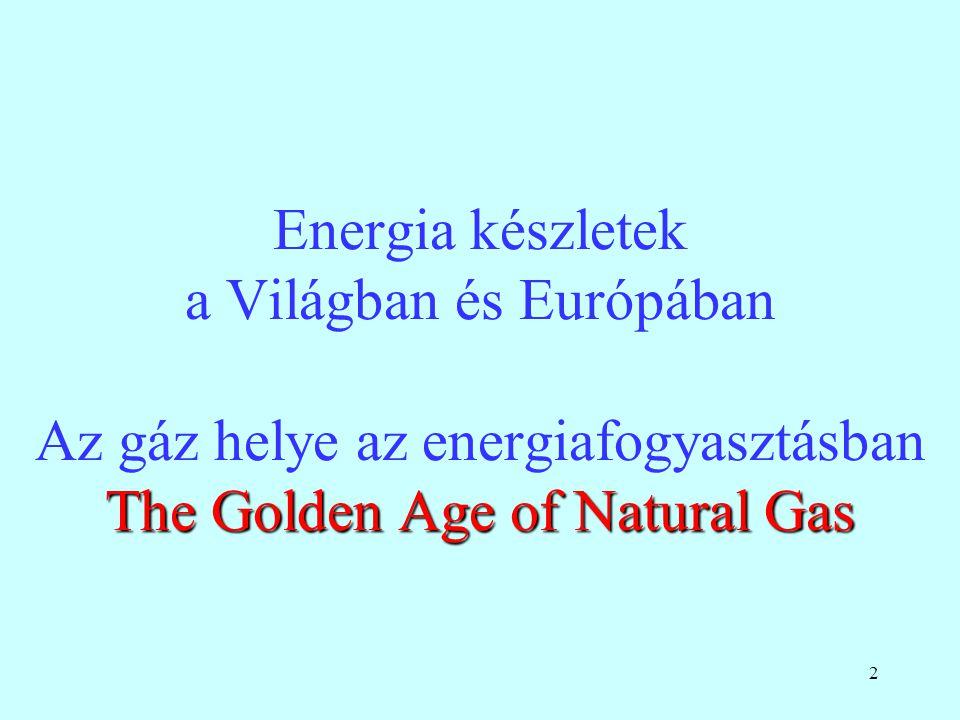 2 The Golden Age of Natural Gas Energia készletek a Világban és Európában Az gáz helye az energiafogyasztásban The Golden Age of Natural Gas