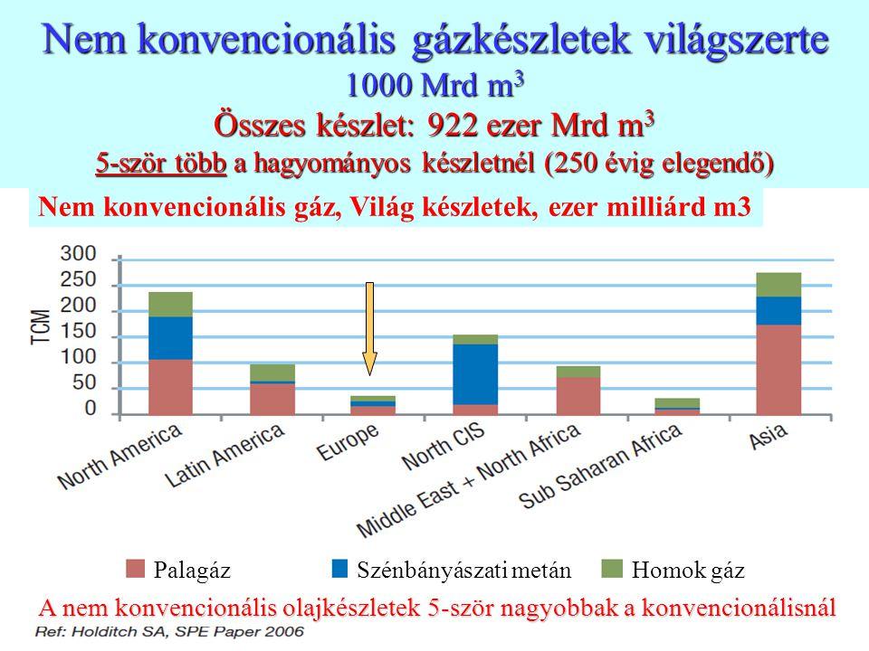 7 Nem konvencionális gázkészletek világszerte 1000 Mrd m 3 Összes készlet: 922 ezer Mrd m 3 5-ször több a hagyományos készletnél (250 évig elegendő) P