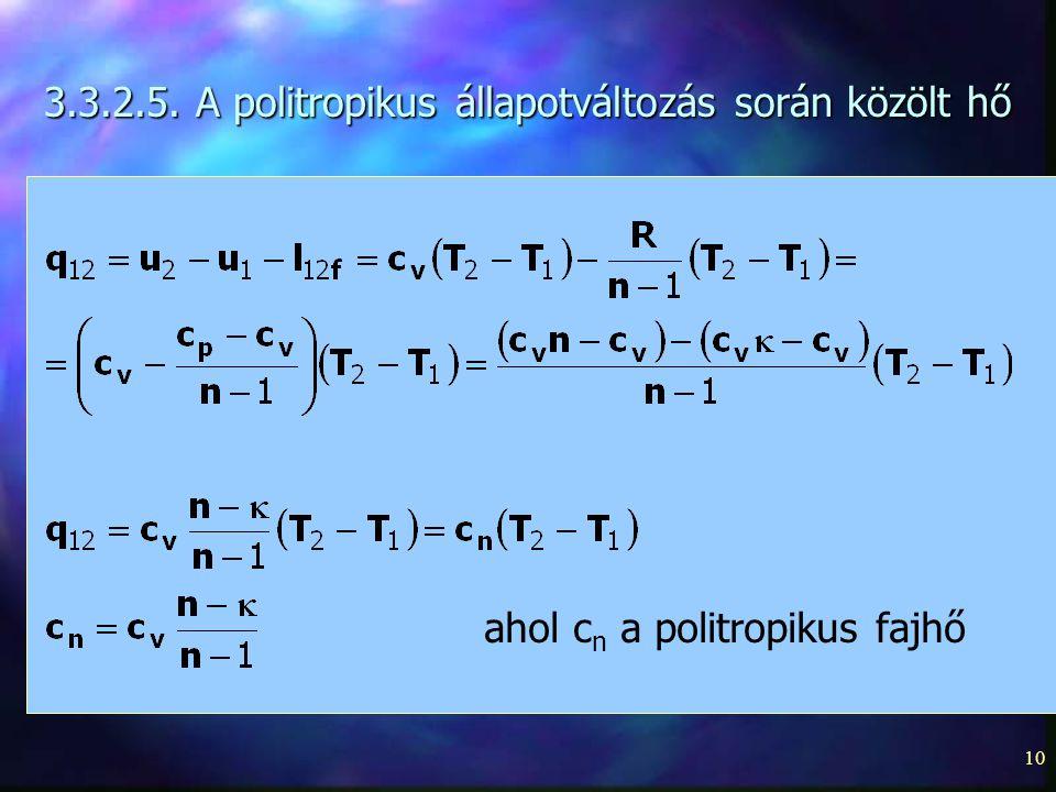 10 3.3.2.5. A politropikus állapotváltozás során közölt hő ahol c n a politropikus fajhő