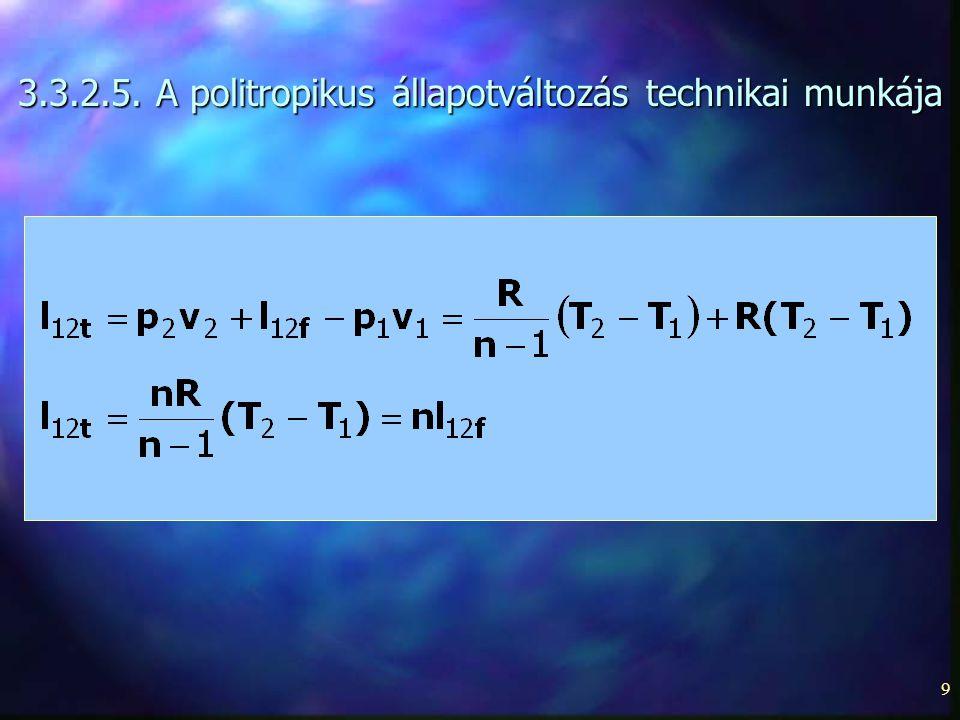 9 3.3.2.5. A politropikus állapotváltozás technikai munkája