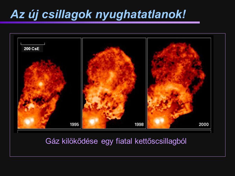 Az új csillagok nyughatatlanok! Gáz kilökődése egy fiatal kettőscsillagból 200 CsE