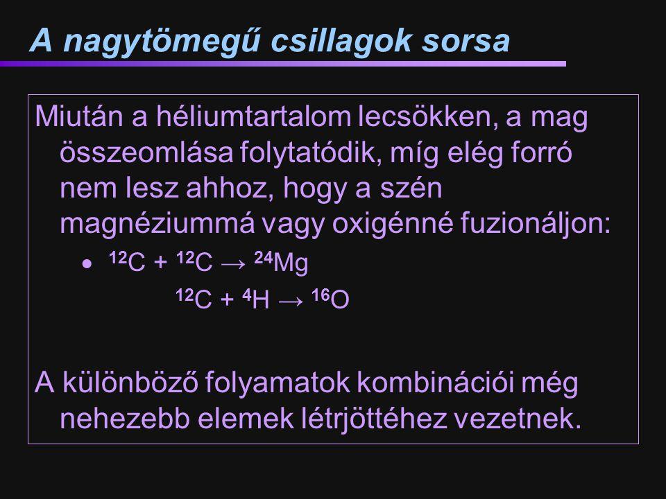A nagytömegű csillagok sorsa Miután a héliumtartalom lecsökken, a mag összeomlása folytatódik, míg elég forró nem lesz ahhoz, hogy a szén magnéziummá vagy oxigénné fuzionáljon:  12 C + 12 C → 24 Mg 12 C + 4 H → 16 O A különböző folyamatok kombinációi még nehezebb elemek létrjöttéhez vezetnek.