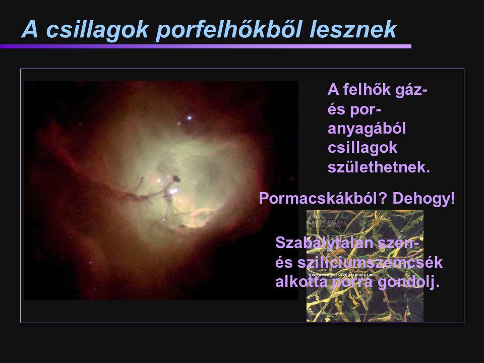 A csillagok porfelhőkből lesznek A felhők gáz- és por- anyagából csillagok születhetnek. Pormacskákból? Dehogy! Szabálytalan szén- és szilíciumszemcsé
