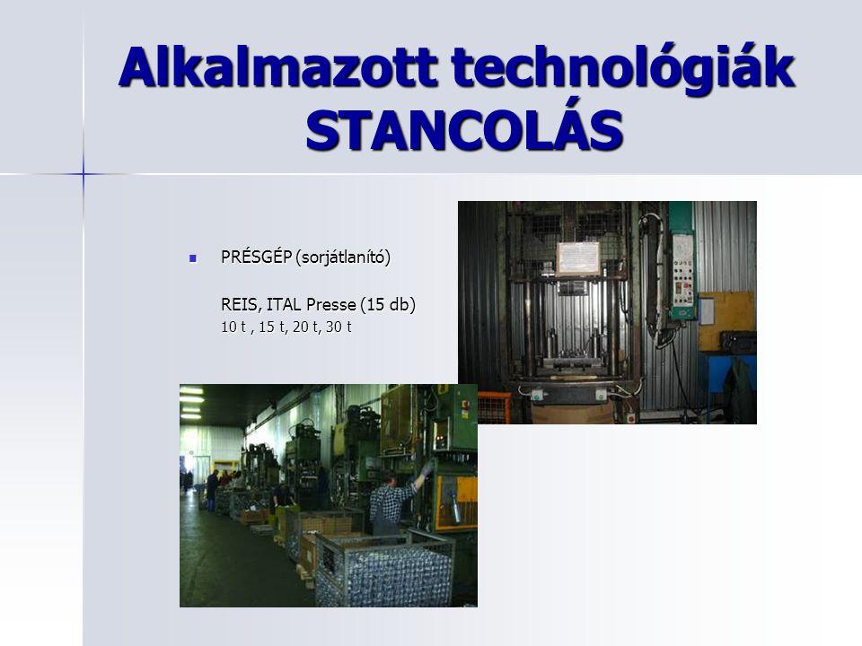 Alkalmazott technológiák STANCOLÁS PRÉSGÉP (sorjátlanító) PRÉSGÉP (sorjátlanító) REIS, ITAL Presse (15 db) 10 t, 15 t, 20 t, 30 t