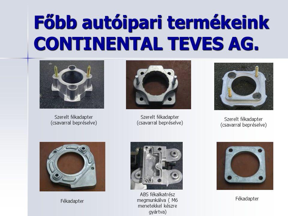 Főbb autóipari termékeink CONTINENTAL TEVES AG. Szerelt fékadapter (csavarral bepréselve) Fékadapter ABS fékalkatrész megmunkálva ( M6 menetekkel kész