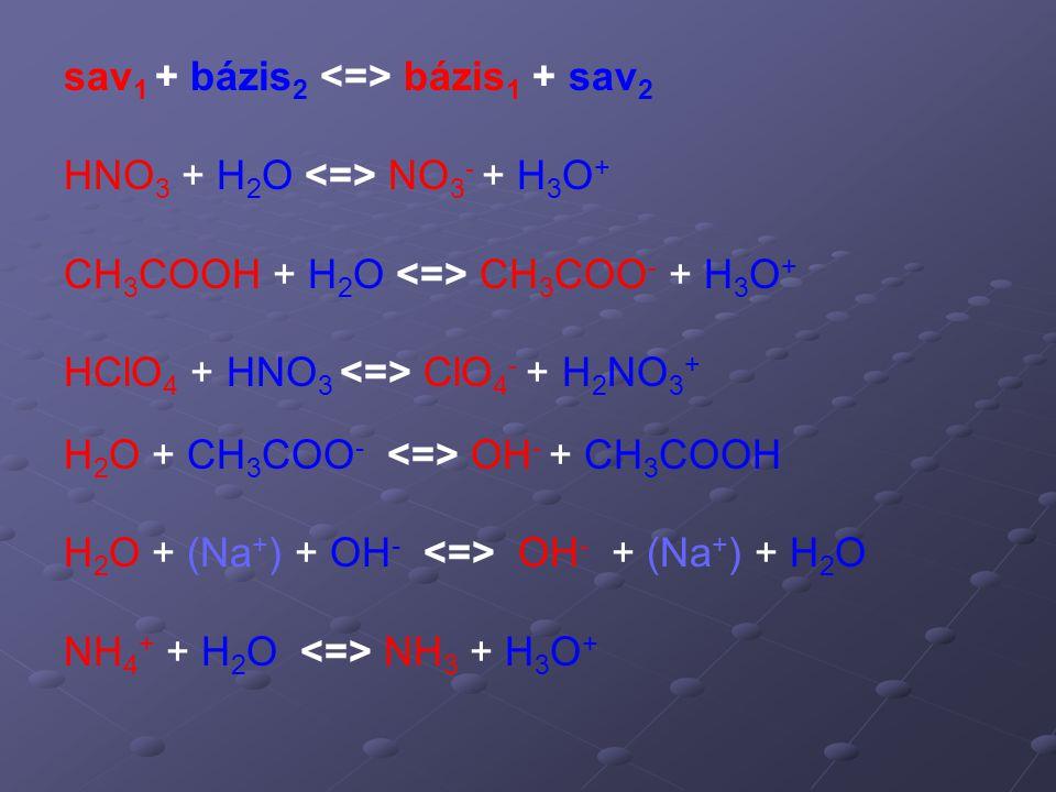 HNO 3 + H 2 O NO 3 - + H 3 O + CH 3 COOH + H 2 O CH 3 COO - + H 3 O + HClO 4 + HNO 3 ClO 4 - + H 2 NO 3 + H 2 O + CH 3 COO - OH - + CH 3 COOH H 2 O +