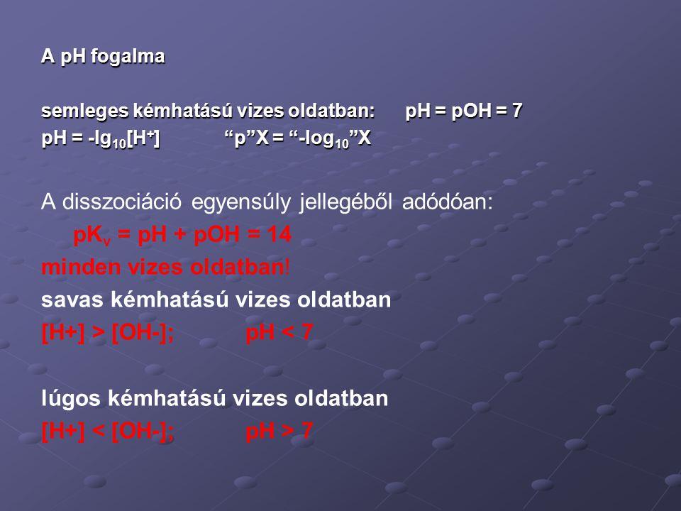"""A pH fogalma semleges kémhatású vizes oldatban: pH = pOH = 7 pH = -lg 10 [H + ] """"p""""X = """"-log 10 """"X A disszociáció egyensúly jellegéből adódóan: pK v ="""