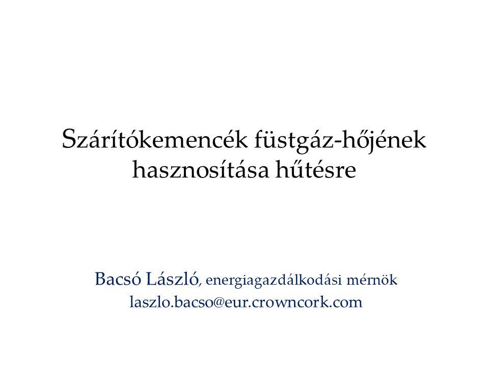 S zárítókemencék füstgáz-hőjének hasznosítása hűtésre Bacsó László, energiagazdálkodási mérnök laszlo.bacso@eur.crowncork.com