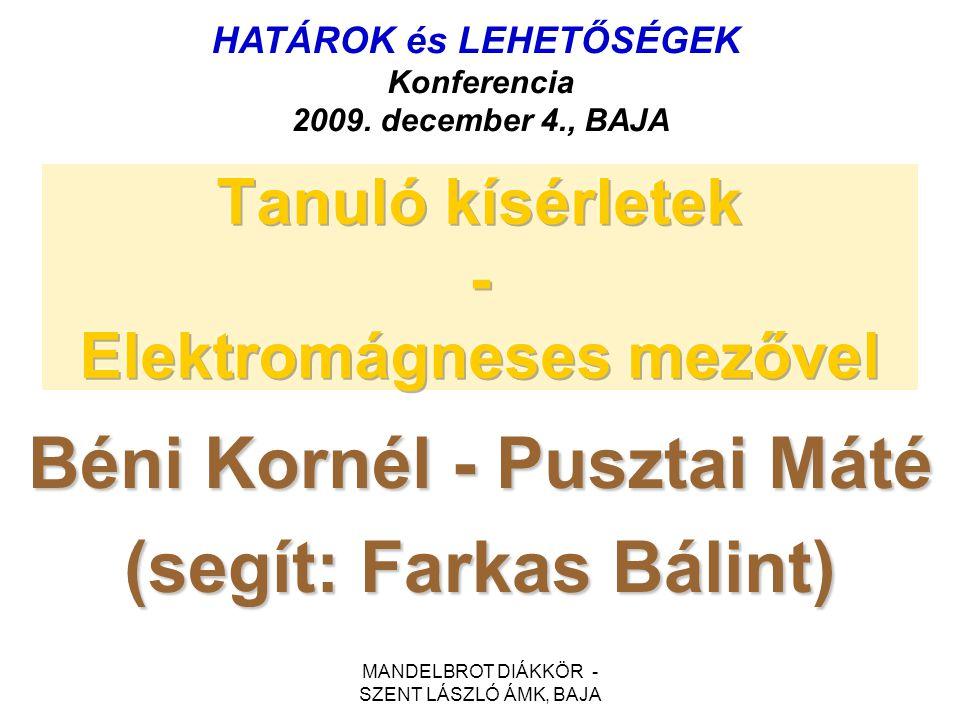 MANDELBROT DIÁKKÖR - SZENT LÁSZLÓ ÁMK, BAJA Béni Kornél - Pusztai Máté (segít: Farkas Bálint) HATÁROK és LEHETŐSÉGEK Konferencia 2009. december 4., BA