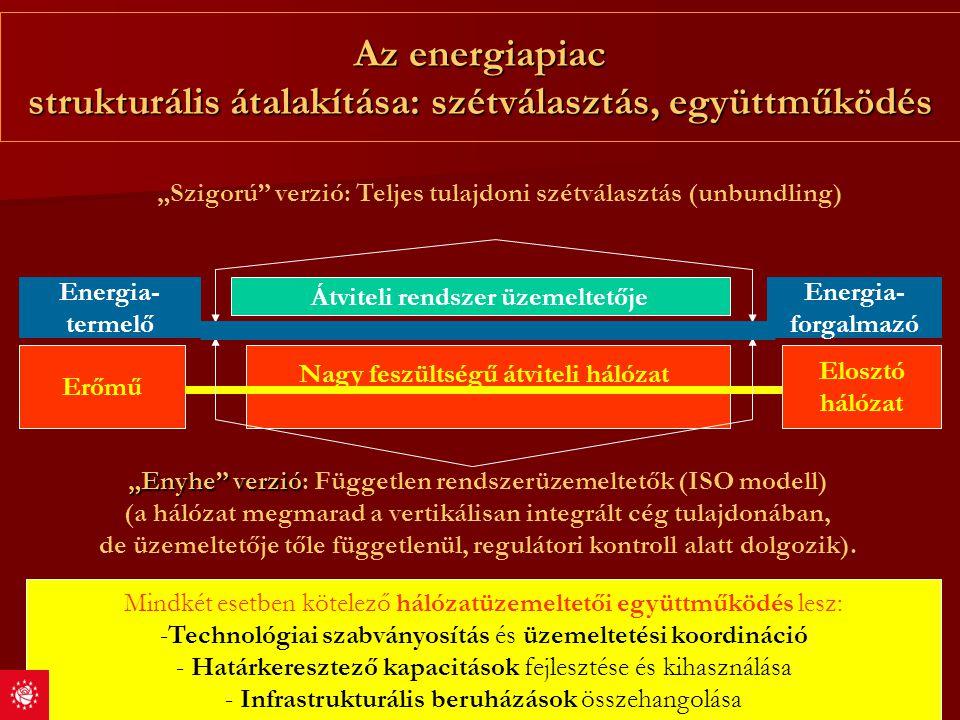 """Az energiapiac strukturális átalakítása: szétválasztás, együttműködés Elosztó hálózat Erőmű Nagy feszültségű átviteli hálózat """"Szigorú"""" verzió: Teljes"""