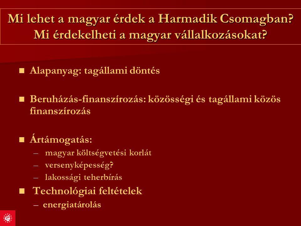 Mi lehet a magyar érdek a Harmadik Csomagban? Mi érdekelheti a magyar vállalkozásokat? Alapanyag: tagállami döntés Beruházás-finanszírozás: közösségi