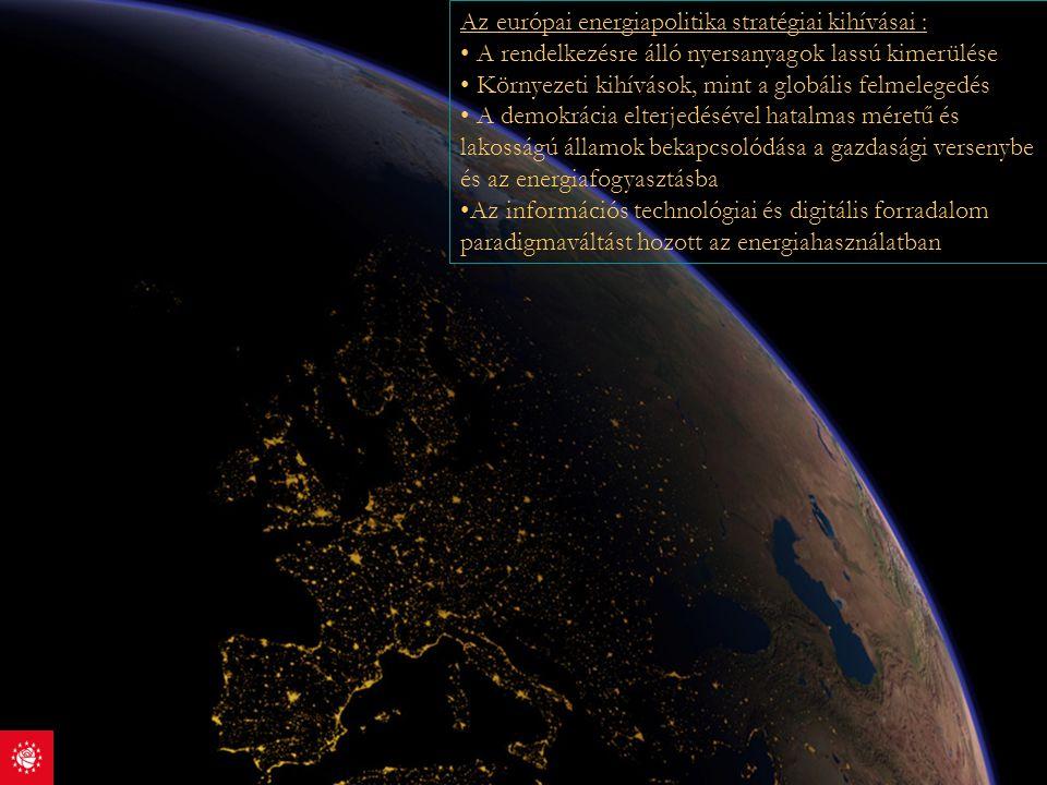 Az európai energiapolitika stratégiai kihívásai : A rendelkezésre álló nyersanyagok lassú kimerülése Környezeti kihívások, mint a globális felmelegedé