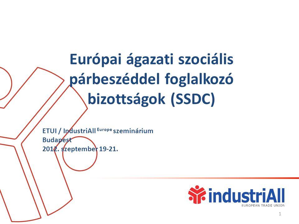Európai ágazati szociális párbeszéddel foglalkozó bizottságok (SSDC) ETUI / IndustriAll Europe szeminárium Budapest 2012.
