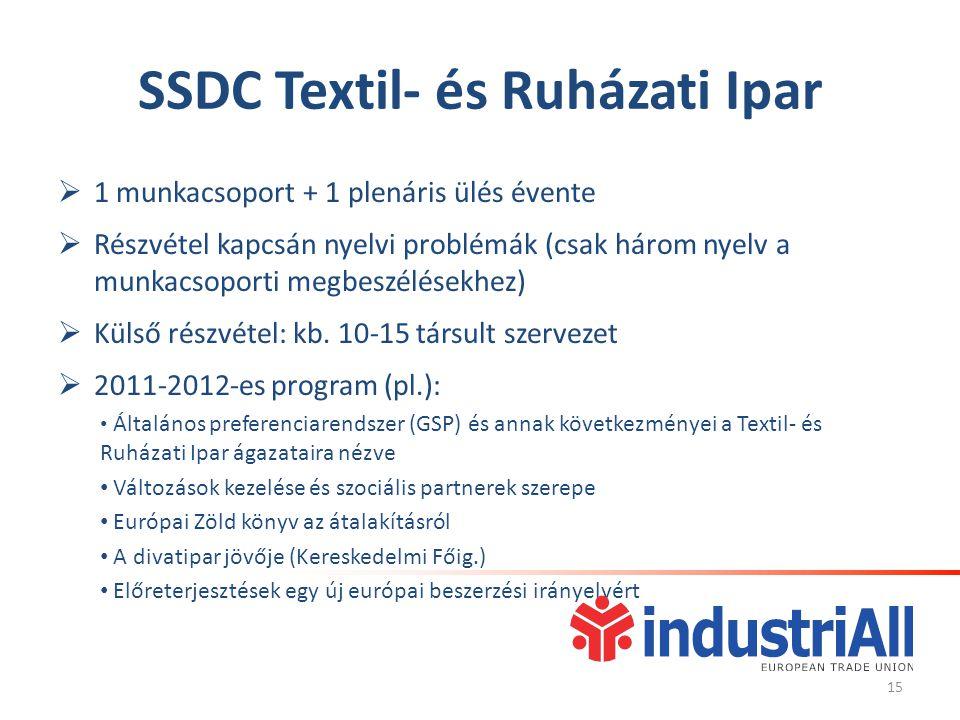 SSDC Textil- és Ruházati Ipar  1 munkacsoport + 1 plenáris ülés évente  Részvétel kapcsán nyelvi problémák (csak három nyelv a munkacsoporti megbeszélésekhez)  Külső részvétel: kb.