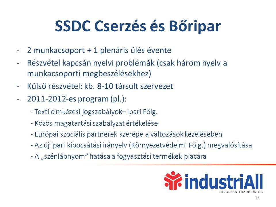 SSDC Cserzés és Bőripar -2 munkacsoport + 1 plenáris ülés évente -Részvétel kapcsán nyelvi problémák (csak három nyelv a munkacsoporti megbeszélésekhez) -Külső részvétel: kb.