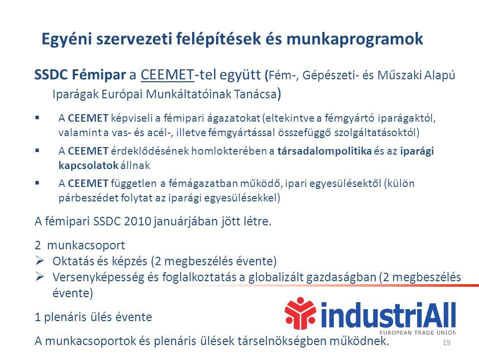 Egyéni szervezeti felépítések és munkaprogramok SSDC Fémipar a CEEMET-tel együtt (Fém-, Gépészeti- és Műszaki Alapú Iparágak Európai Munkáltatóinak Tanácsa )  A CEEMET képviseli a fémipari ágazatokat (eltekintve a fémgyártó iparágaktól, valamint a vas- és acél-, illetve fémgyártással összefüggő szolgáltatásoktól)  A CEEMET érdeklődésének homlokterében a társadalompolitika és az iparági kapcsolatok állnak  A CEEMET független a fémágazatban működő, ipari egyesülésektől (külön párbeszédet folytat az iparági egyesülésekkel) A fémipari SSDC 2010 januárjában jött létre.