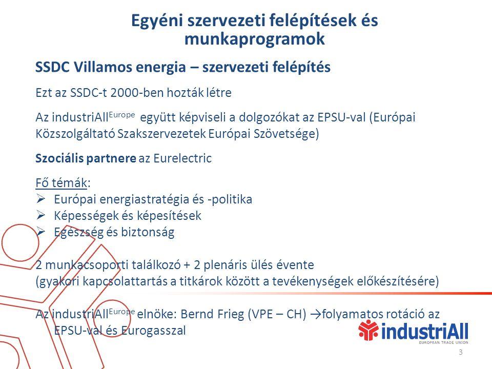 Egyéni szervezeti felépítések és munkaprogramok SSDC Villamos energia – szervezeti felépítés Ezt az SSDC-t 2000-ben hozták létre Az industriAll Europe együtt képviseli a dolgozókat az EPSU-val (Európai Közszolgáltató Szakszervezetek Európai Szövetsége) Szociális partnere az Eurelectric Fő témák:  Európai energiastratégia és -politika  Képességek és képesítések  Egészség és biztonság 2 munkacsoporti találkozó + 2 plenáris ülés évente (gyakori kapcsolattartás a titkárok között a tevékenységek előkészítésére) Az industriAll Europe elnöke: Bernd Frieg (VPE – CH) →folyamatos rotáció az EPSU-val és Eurogasszal 3