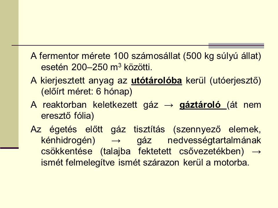 A fermentor mérete 100 számosállat (500 kg súlyú állat) esetén 200–250 m 3 közötti. A kierjesztett anyag az utótárolóba kerül (utóerjesztő) (előírt mé