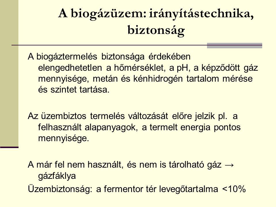 A biogázüzem: irányítástechnika, biztonság A biogáztermelés biztonsága érdekében elengedhetetlen a hőmérséklet, a pH, a képződött gáz mennyisége, metá