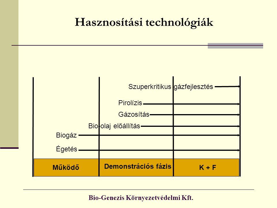 Bio-Genezis Környezetvédelmi Kft. Hasznosítási technológiák Szuperkritikus gázfejlesztés Bio-olaj előállítás Pirolízis Gázosítás Égetés K + F Demonstr