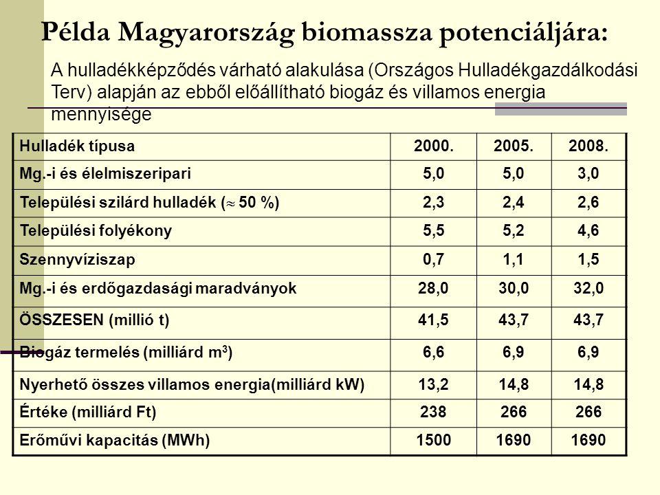 Példa Magyarország biomassza potenciáljára: Hulladék típusa2000.2005.2008. Mg.-i és élelmiszeripari5,0 3,0 Települési szilárd hulladék (  50 %) 2,32,