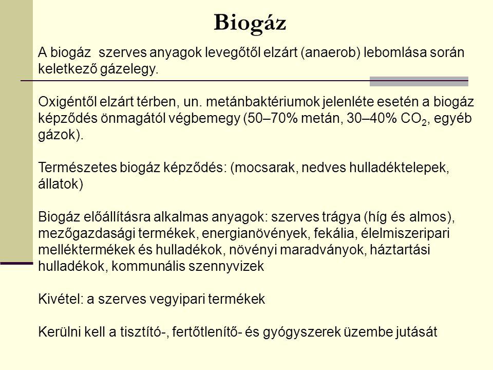 Biogáz A biogáz szerves anyagok levegőtől elzárt (anaerob) lebomlása során keletkező gázelegy. Oxigéntől elzárt térben, un. metánbaktériumok jelenléte