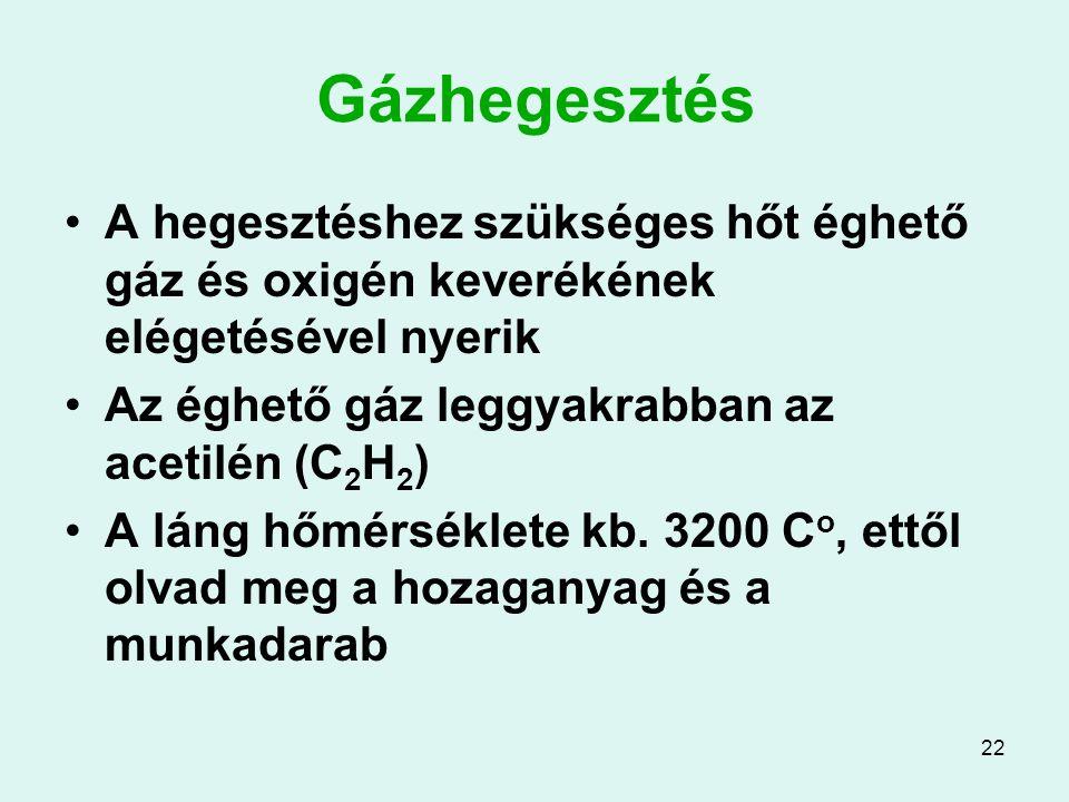 22 Gázhegesztés A hegesztéshez szükséges hőt éghető gáz és oxigén keverékének elégetésével nyerik Az éghető gáz leggyakrabban az acetilén (C 2 H 2 ) A