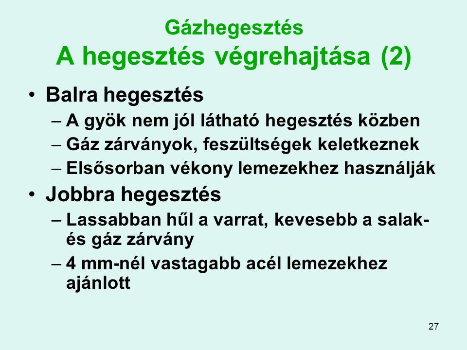 27 Gázhegesztés A hegesztés végrehajtása (2) Balra hegesztés –A gyök nem jól látható hegesztés közben –Gáz zárványok, feszültségek keletkeznek –Elsőso