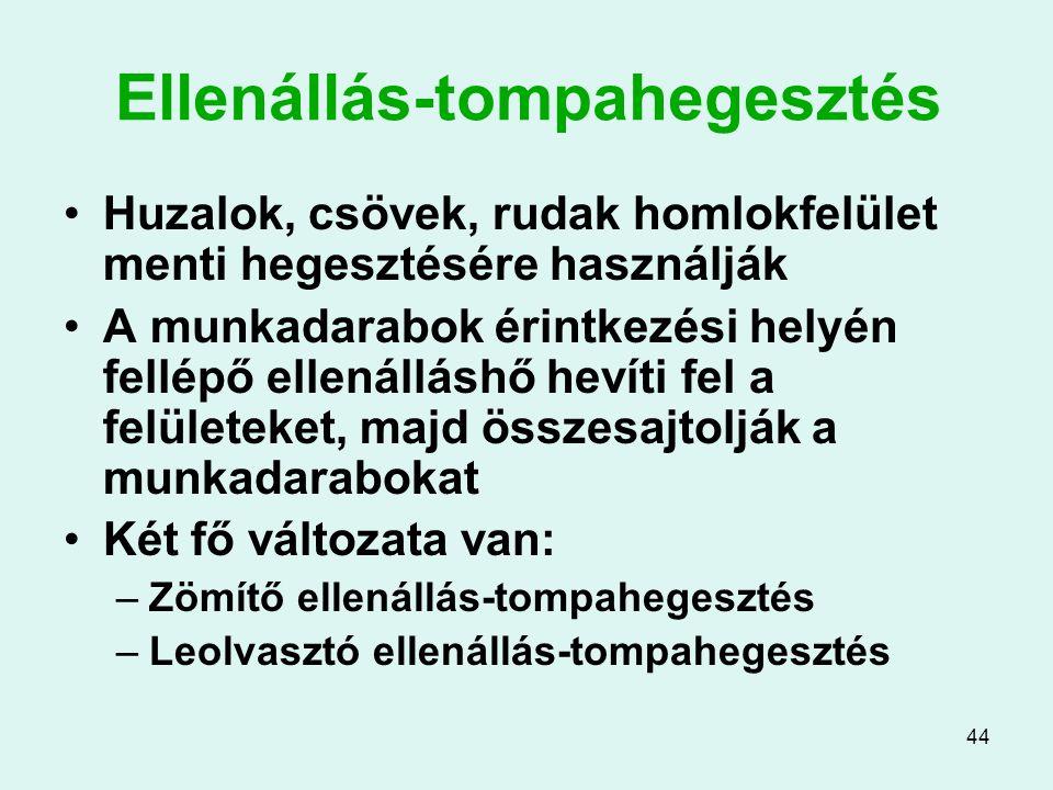 44 Ellenállás-tompahegesztés Huzalok, csövek, rudak homlokfelület menti hegesztésére használják A munkadarabok érintkezési helyén fellépő ellenálláshő