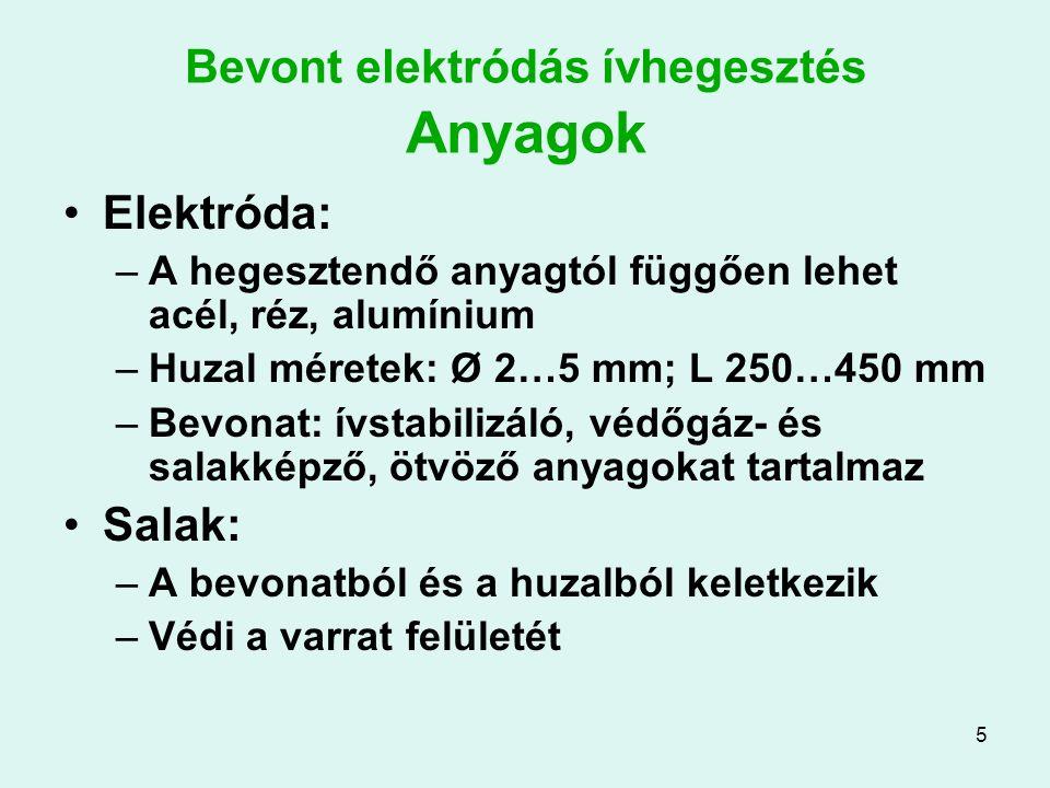 5 Bevont elektródás ívhegesztés Anyagok Elektróda: –A hegesztendő anyagtól függően lehet acél, réz, alumínium –Huzal méretek: Ø 2…5 mm; L 250…450 mm –