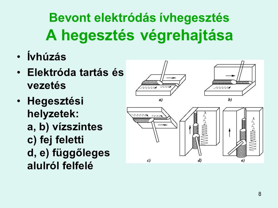 8 Bevont elektródás ívhegesztés A hegesztés végrehajtása Ívhúzás Elektróda tartás és vezetés Hegesztési helyzetek: a, b) vízszintes c) fej feletti d,