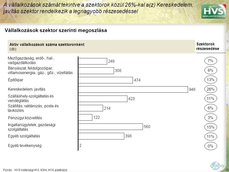 16 Forrás:HVS kistérségi HVI, KSH, HVS adatbázis Vállalkozások szektor szerinti megoszlása A vállalkozások számát tekintve a szektorok közül 26%-kal a