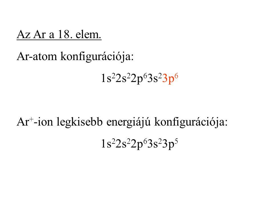 Az Ar a 18. elem. Ar-atom konfigurációja: 1s 2 2s 2 2p 6 3s 2 3p 6 Ar + -ion legkisebb energiájú konfigurációja: 1s 2 2s 2 2p 6 3s 2 3p 5