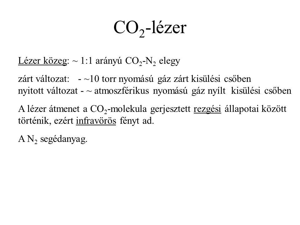 CO 2 -lézer Lézer közeg: ~ 1:1 arányú CO 2 -N 2 elegy zárt változat: - ~10 torr nyomású gáz zárt kisülési csőben nyitott változat - ~ atmoszférikus nyomású gáz nyílt kisülési csőben A lézer átmenet a CO 2 -molekula gerjesztett rezgési állapotai között történik, ezért infravörös fényt ad.
