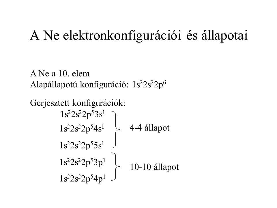 A Ne elektronkonfigurációi és állapotai A Ne a 10. elem Alapállapotú konfiguráció: 1s 2 2s 2 2p 6 Gerjesztett konfigurációk: 1s 2 2s 2 2p 5 3s 1 1s 2