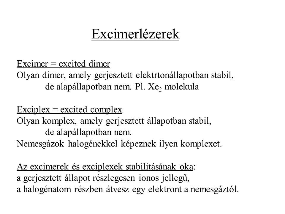 Excimerlézerek Excimer = excited dimer Olyan dimer, amely gerjesztett elektrtonállapotban stabil, de alapállapotban nem. Pl. Xe 2 molekula Exciplex =