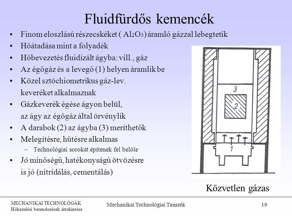 MECHANIKAI TECHNOLÓGÁK Hőkezelési berendezések áttekintése Fluidfürdős kemencék Finom eloszlású részecskéket ( Al 2 O 3 ) áramló gázzal lebegtetik Hőátadása mint a folyadék Hőbevezetés fluidizált ágyba: vill., gáz Az égőgáz és a levegő (1) helyen áramlik be Közel sztöchiometrikus gáz-lev.
