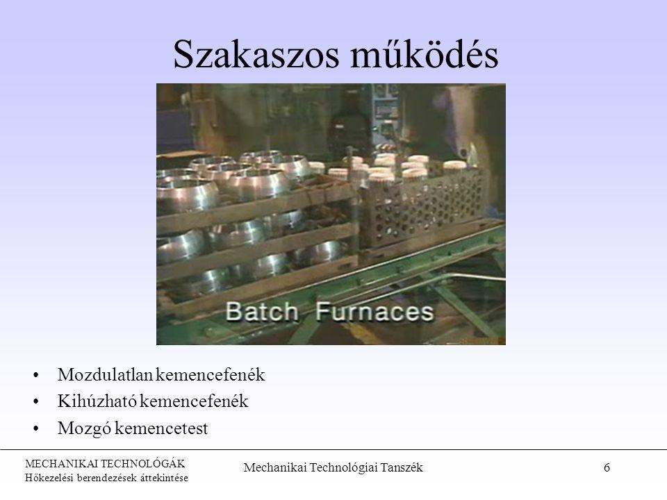 MECHANIKAI TECHNOLÓGÁK Hőkezelési berendezések áttekintése Mechanikai Technológiai Tanszék6 Szakaszos működés Mozdulatlan kemencefenék Kihúzható kemen